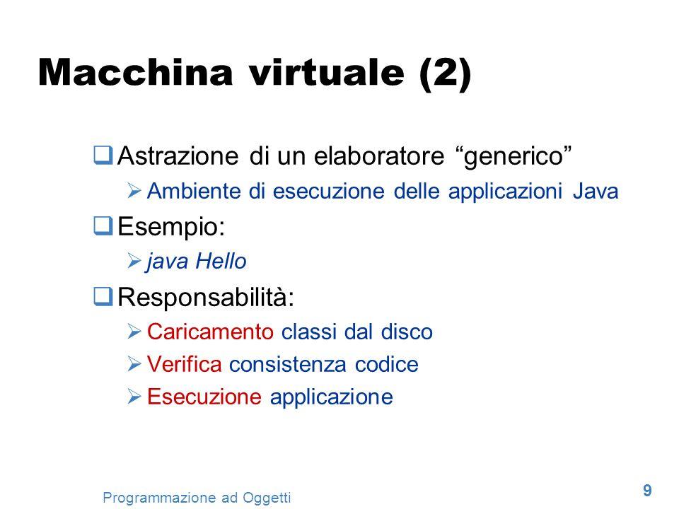 9 Programmazione ad Oggetti Macchina virtuale (2) Astrazione di un elaboratore generico Ambiente di esecuzione delle applicazioni Java Esempio: java H