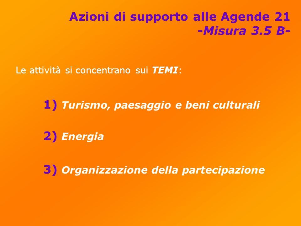 Azioni di supporto alle Agende 21 -Misura 3.5 B- Le attività si concentrano sui TEMI: 1) Turismo, paesaggio e beni culturali 2) Energia 3) Organizzazione della partecipazione