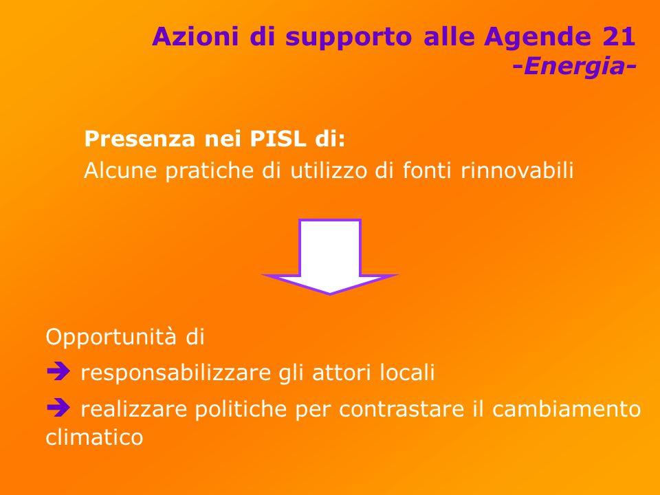 Azioni di supporto alle Agende 21 -Energia- Presenza nei PISL di: Alcune pratiche di utilizzo di fonti rinnovabili Opportunità di responsabilizzare gli attori locali realizzare politiche per contrastare il cambiamento climatico