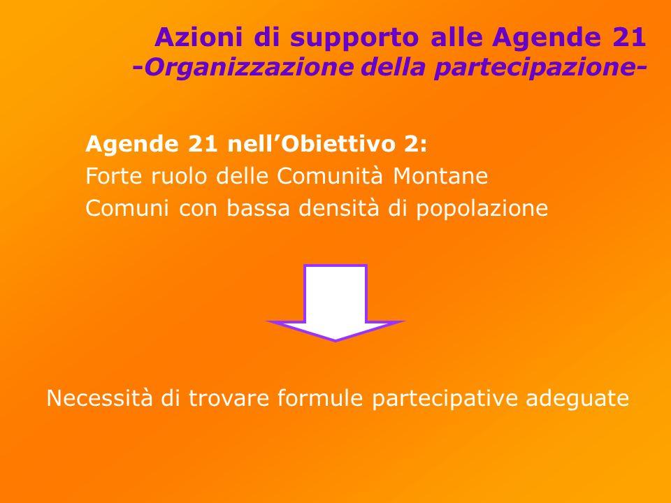 Azioni di supporto alle Agende 21 -Organizzazione della partecipazione- Agende 21 nellObiettivo 2: Forte ruolo delle Comunità Montane Comuni con bassa densità di popolazione Necessità di trovare formule partecipative adeguate