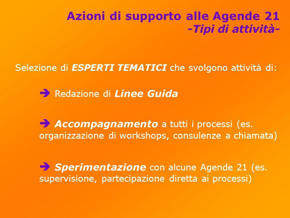 Azioni di supporto alle Agende 21 -Tipi di attività- Selezione di ESPERTI TEMATICI che svolgono attività di: Redazione di Linee Guida Accompagnamento a tutti i processi (es.