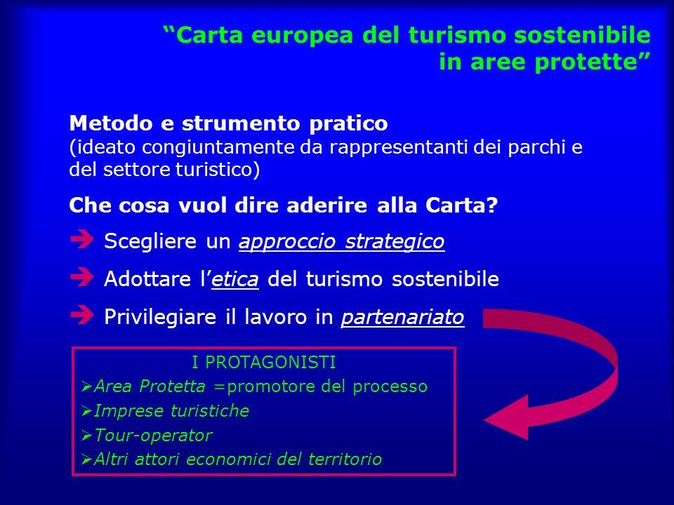 Carta europea del turismo sostenibile in aree protette Metodo e strumento pratico (ideato congiuntamente da rappresentanti dei parchi e del settore turistico) Che cosa vuol dire aderire alla Carta.