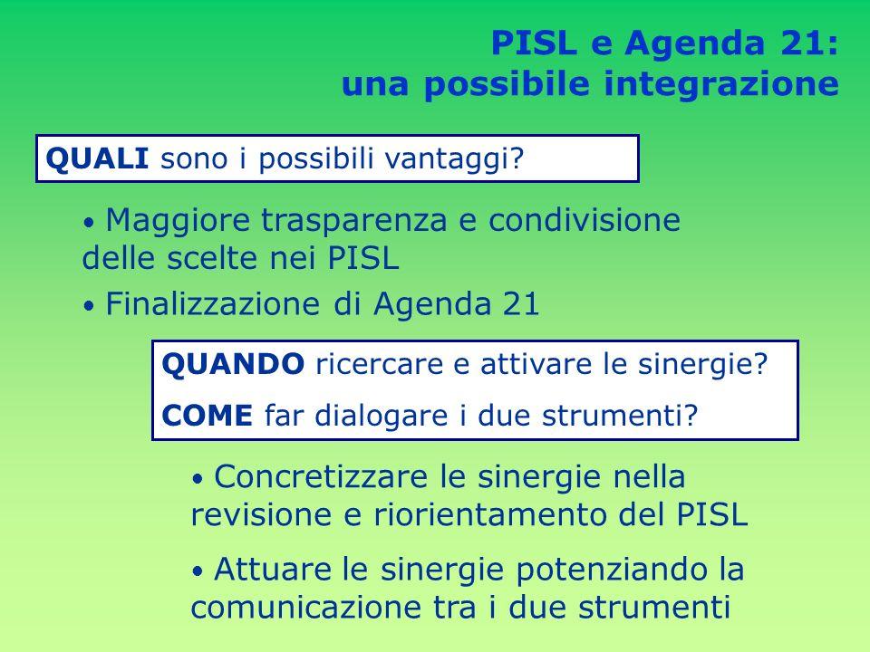 PISL e Agenda 21: una possibile integrazione QUALI sono i possibili vantaggi.
