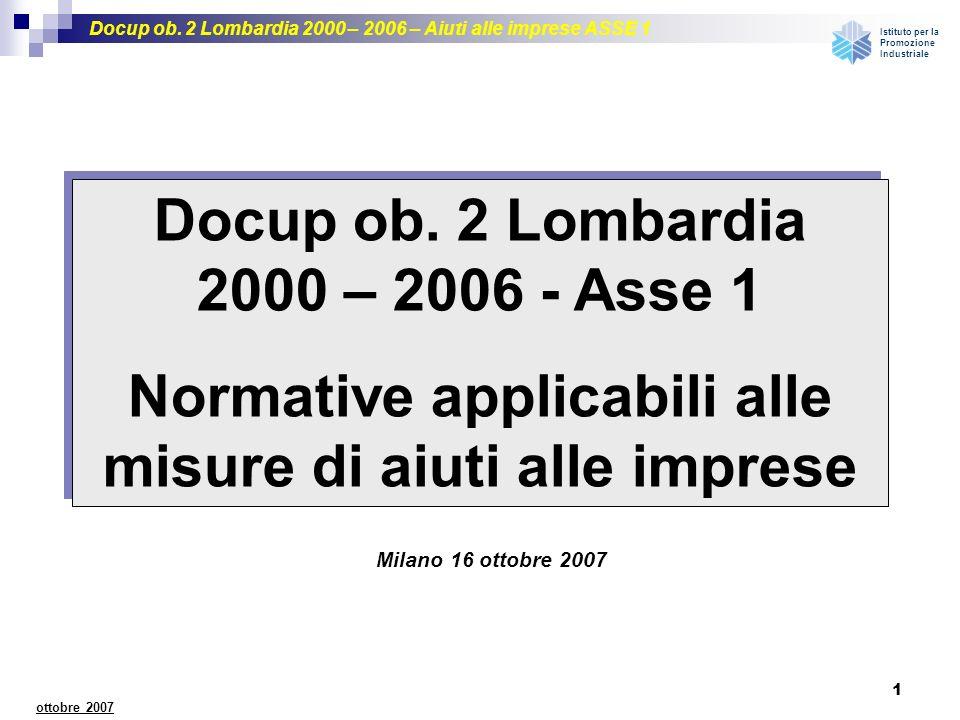 Docup ob. 2 Lombardia 2000 – 2006 – Aiuti alle imprese ASSE 1 Istituto per la Promozione Industriale 1 ottobre 2007 Milano 16 ottobre 2007 Docup ob. 2