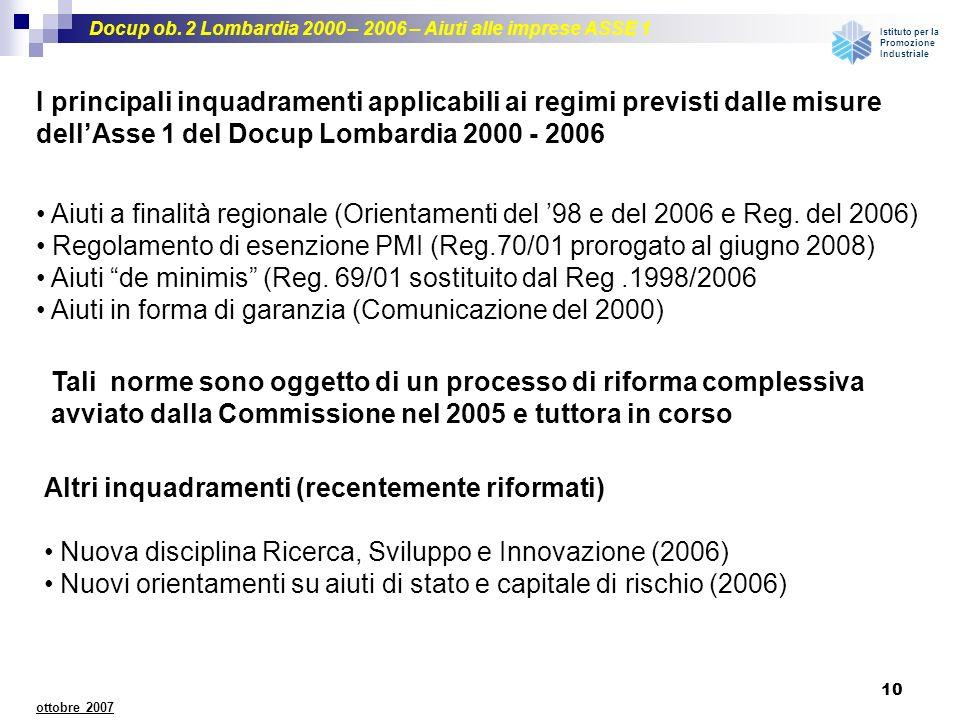 Docup ob. 2 Lombardia 2000 – 2006 – Aiuti alle imprese ASSE 1 Istituto per la Promozione Industriale 10 ottobre 2007 I principali inquadramenti applic