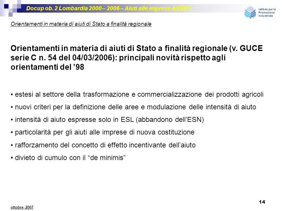 Docup ob. 2 Lombardia 2000 – 2006 – Aiuti alle imprese ASSE 1 Istituto per la Promozione Industriale 14 ottobre 2007 Orientamenti in materia di aiuti