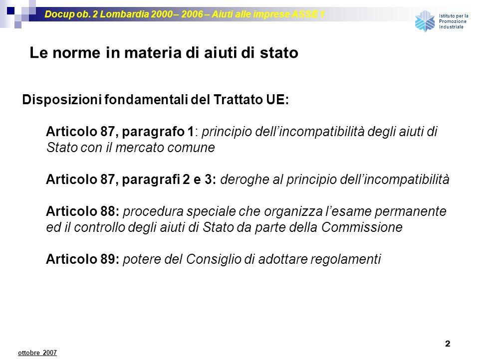 Docup ob. 2 Lombardia 2000 – 2006 – Aiuti alle imprese ASSE 1 Istituto per la Promozione Industriale 2 ottobre 2007 Le norme in materia di aiuti di st