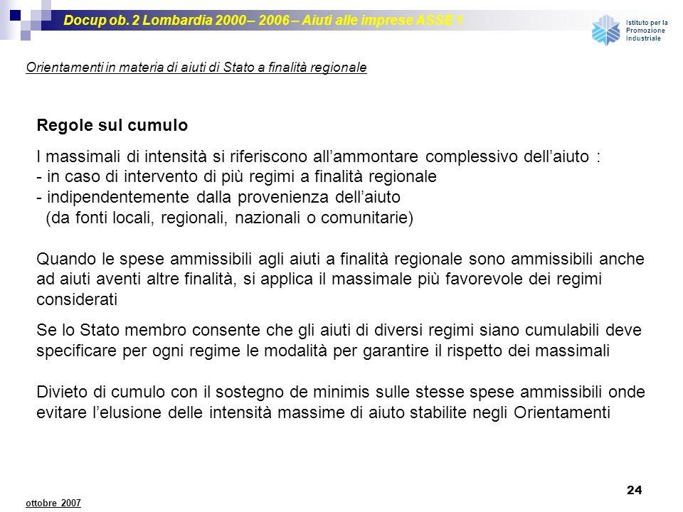 Docup ob. 2 Lombardia 2000 – 2006 – Aiuti alle imprese ASSE 1 Istituto per la Promozione Industriale 24 ottobre 2007 Orientamenti in materia di aiuti