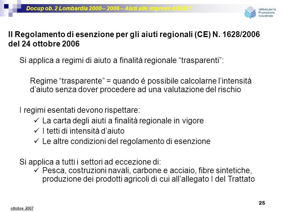 Docup ob. 2 Lombardia 2000 – 2006 – Aiuti alle imprese ASSE 1 Istituto per la Promozione Industriale 25 ottobre 2007 Il Regolamento di esenzione per g