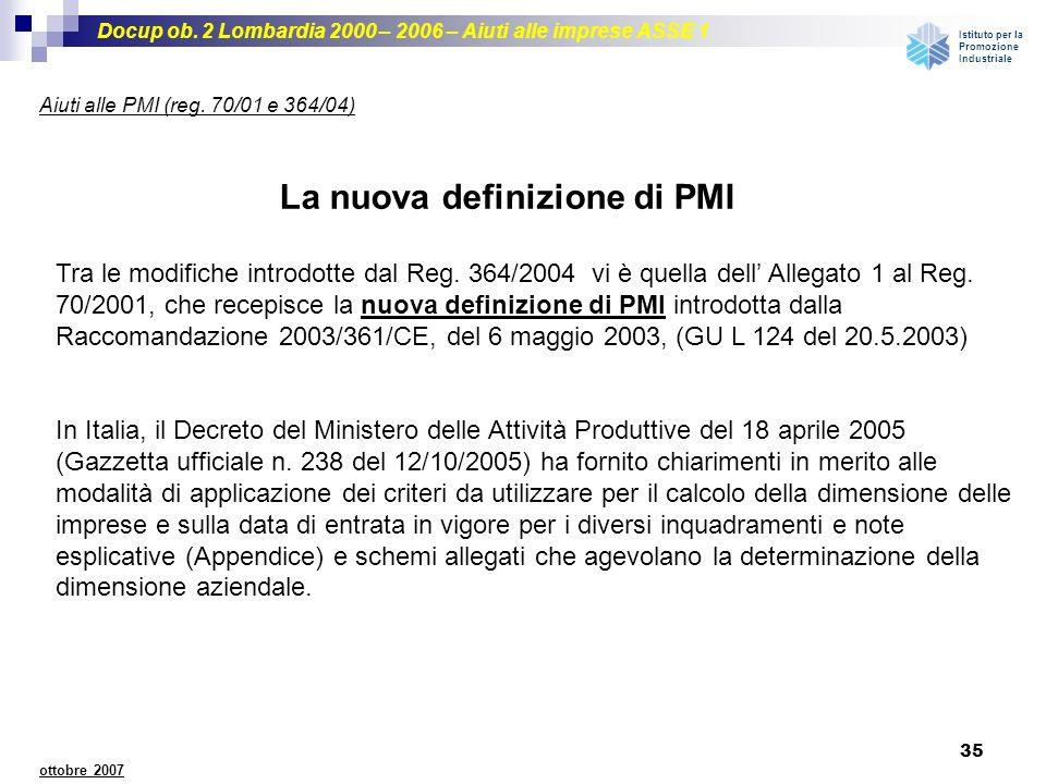 Docup ob. 2 Lombardia 2000 – 2006 – Aiuti alle imprese ASSE 1 Istituto per la Promozione Industriale 35 ottobre 2007 Aiuti alle PMI (reg. 70/01 e 364/