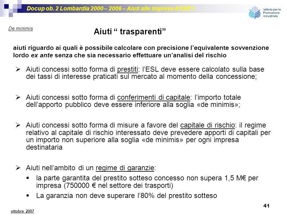 Docup ob. 2 Lombardia 2000 – 2006 – Aiuti alle imprese ASSE 1 Istituto per la Promozione Industriale 41 ottobre 2007 De minimis Aiuti trasparenti aiut