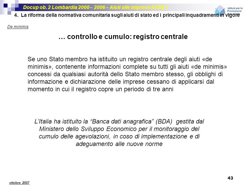 Docup ob. 2 Lombardia 2000 – 2006 – Aiuti alle imprese ASSE 1 Istituto per la Promozione Industriale 43 ottobre 2007 Se uno Stato membro ha istituito