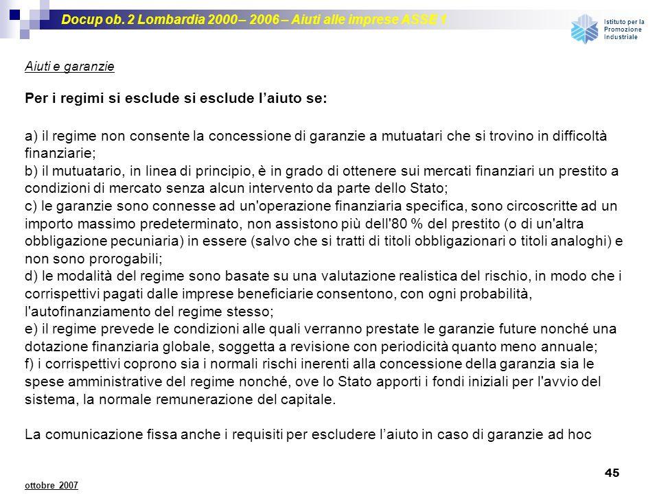 Docup ob. 2 Lombardia 2000 – 2006 – Aiuti alle imprese ASSE 1 Istituto per la Promozione Industriale 45 ottobre 2007 Per i regimi si esclude si esclud