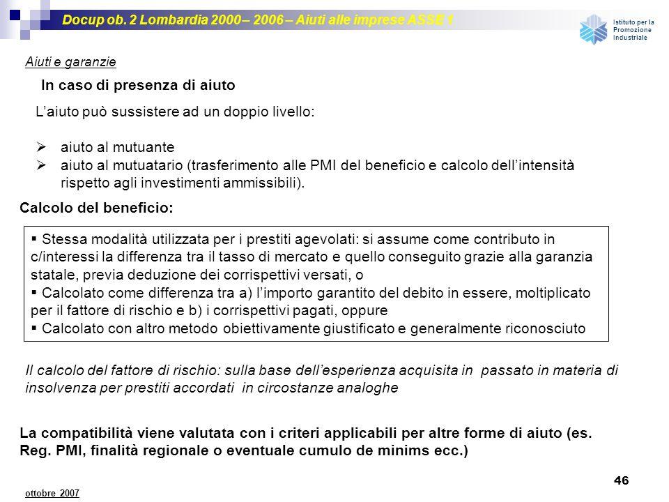 Docup ob. 2 Lombardia 2000 – 2006 – Aiuti alle imprese ASSE 1 Istituto per la Promozione Industriale 46 ottobre 2007 Aiuti e garanzie Calcolo del bene