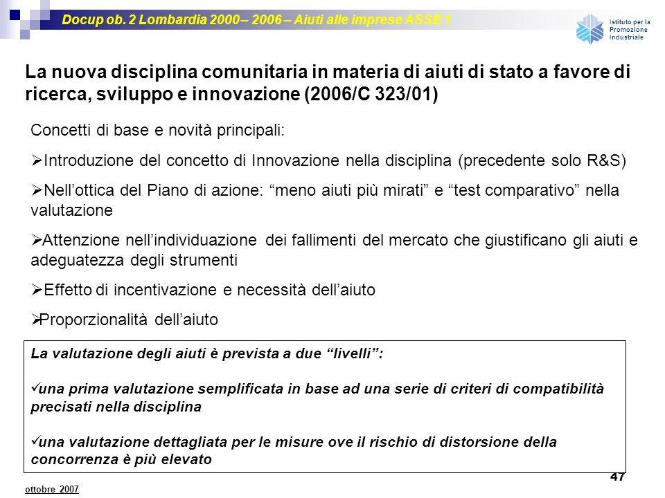 Docup ob. 2 Lombardia 2000 – 2006 – Aiuti alle imprese ASSE 1 Istituto per la Promozione Industriale 47 ottobre 2007 La nuova disciplina comunitaria i
