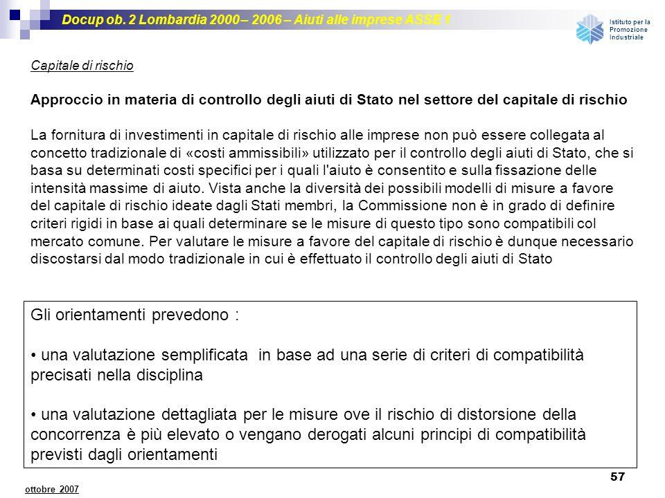 Docup ob. 2 Lombardia 2000 – 2006 – Aiuti alle imprese ASSE 1 Istituto per la Promozione Industriale 57 ottobre 2007 Capitale di rischio Approccio in