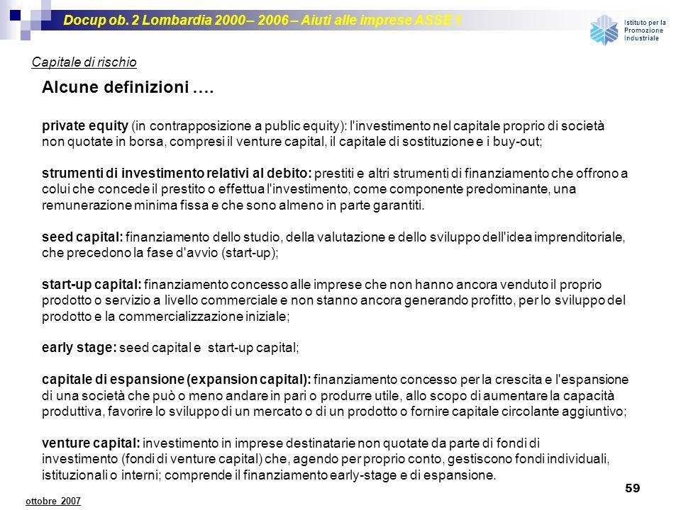 Docup ob. 2 Lombardia 2000 – 2006 – Aiuti alle imprese ASSE 1 Istituto per la Promozione Industriale 59 ottobre 2007 Capitale di rischio Alcune defini
