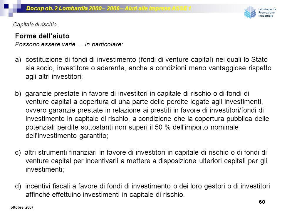 Docup ob. 2 Lombardia 2000 – 2006 – Aiuti alle imprese ASSE 1 Istituto per la Promozione Industriale 60 ottobre 2007 Capitale di rischio Forme dell'ai