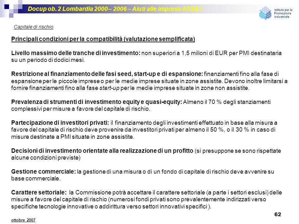 Docup ob. 2 Lombardia 2000 – 2006 – Aiuti alle imprese ASSE 1 Istituto per la Promozione Industriale 62 ottobre 2007 Capitale di rischio Principali co