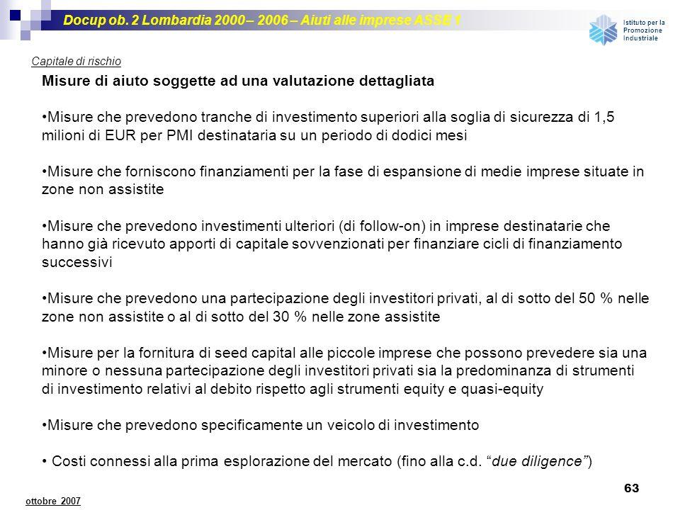 Docup ob. 2 Lombardia 2000 – 2006 – Aiuti alle imprese ASSE 1 Istituto per la Promozione Industriale 63 ottobre 2007 Capitale di rischio Misure di aiu