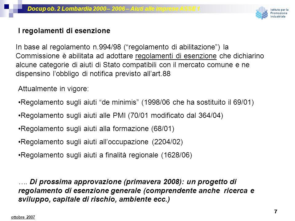 Docup ob. 2 Lombardia 2000 – 2006 – Aiuti alle imprese ASSE 1 Istituto per la Promozione Industriale 7 ottobre 2007 I regolamenti di esenzione In base