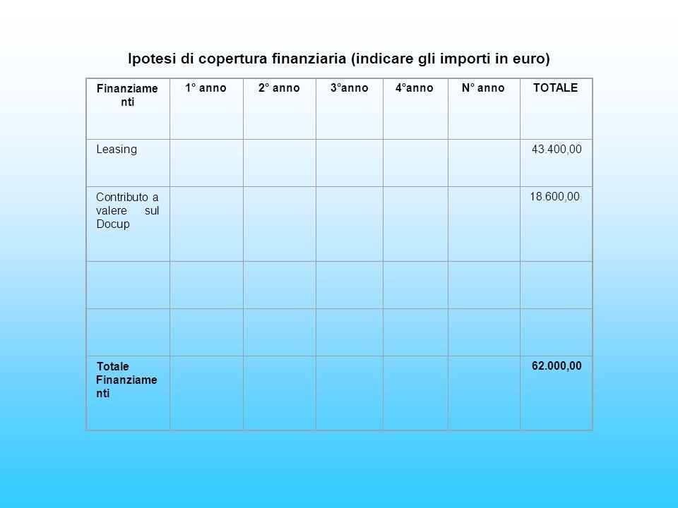 Finanziame nti 1° anno2° anno3°anno4°annoN° annoTOTALE Leasing 43.400,00 Contributo a valere sul Docup 18.600,00 Totale Finanziame nti 62.000,00 Ipotesi di copertura finanziaria (indicare gli importi in euro)