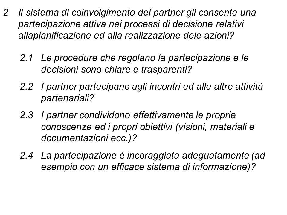 2Il sistema di coinvolgimento dei partner gli consente una partecipazione attiva nei processi di decisione relativi allapianificazione ed alla realizzazione dele azioni.