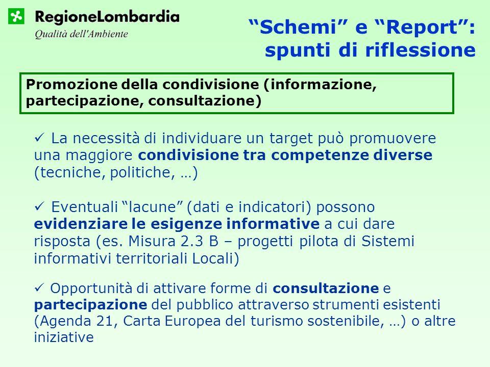 Schemi e Report: spunti di riflessione Promozione della condivisione (informazione, partecipazione, consultazione) Eventuali lacune (dati e indicatori) possono evidenziare le esigenze informative a cui dare risposta (es.