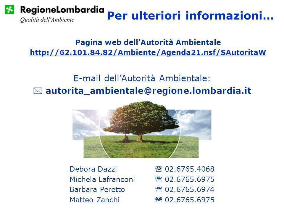 Per ulteriori informazioni… Debora Dazzi 02.6765.4068 Michela Lafranconi 02.6765.6975 Barbara Peretto 02.6765.6974 Matteo Zanchi 02.6765.6975 Pagina web dellAutorità Ambientale http://62.101.84.82/Ambiente/Agenda21.nsf/SAutoritaW E-mail dellAutorità Ambientale: autorita_ambientale@regione.lombardia.it