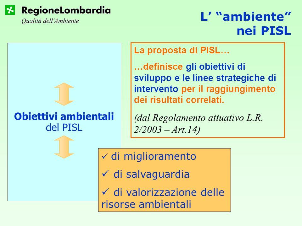 L ambiente nei PISL Obiettivi ambientali del PISL di miglioramento di salvaguardia di valorizzazione delle risorse ambientali La proposta di PISL… …definisce gli obiettivi di sviluppo e le linee strategiche di intervento per il raggiungimento dei risultati correlati.