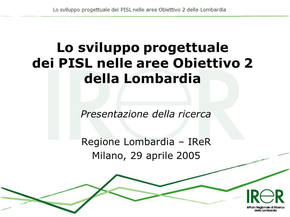 Lo sviluppo progettuale dei PISL nelle aree Obiettivo 2 della Lombardia Presentazione della ricerca Regione Lombardia – IReR Milano, 29 aprile 2005