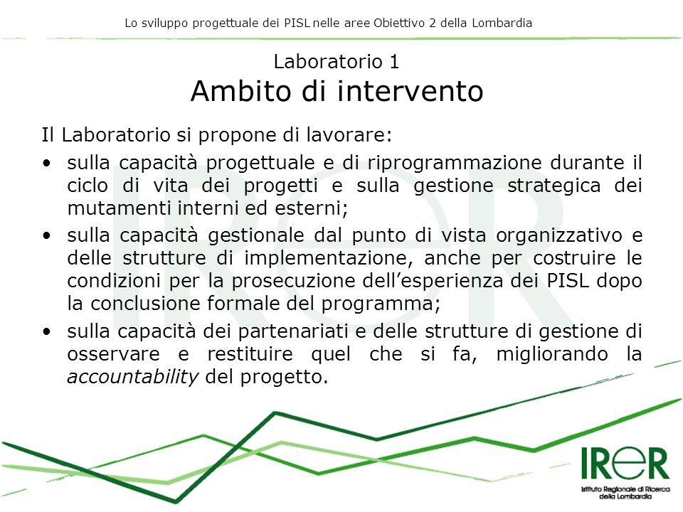 Lo sviluppo progettuale dei PISL nelle aree Obiettivo 2 della Lombardia Laboratorio 1 Ambito di intervento Il Laboratorio si propone di lavorare: sull