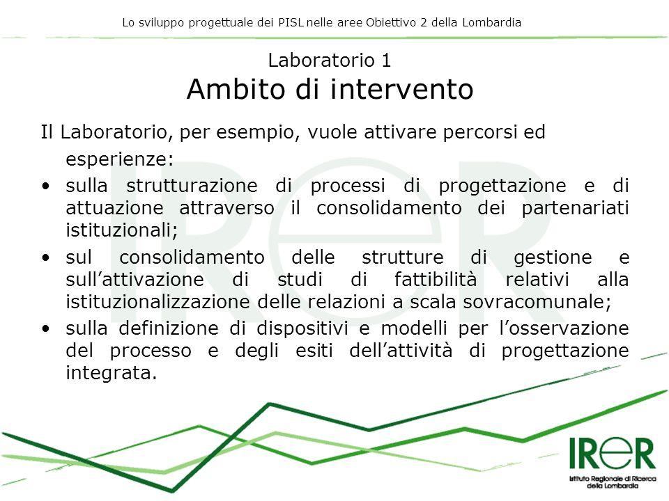 Lo sviluppo progettuale dei PISL nelle aree Obiettivo 2 della Lombardia Laboratorio 1 Ambito di intervento Il Laboratorio, per esempio, vuole attivare