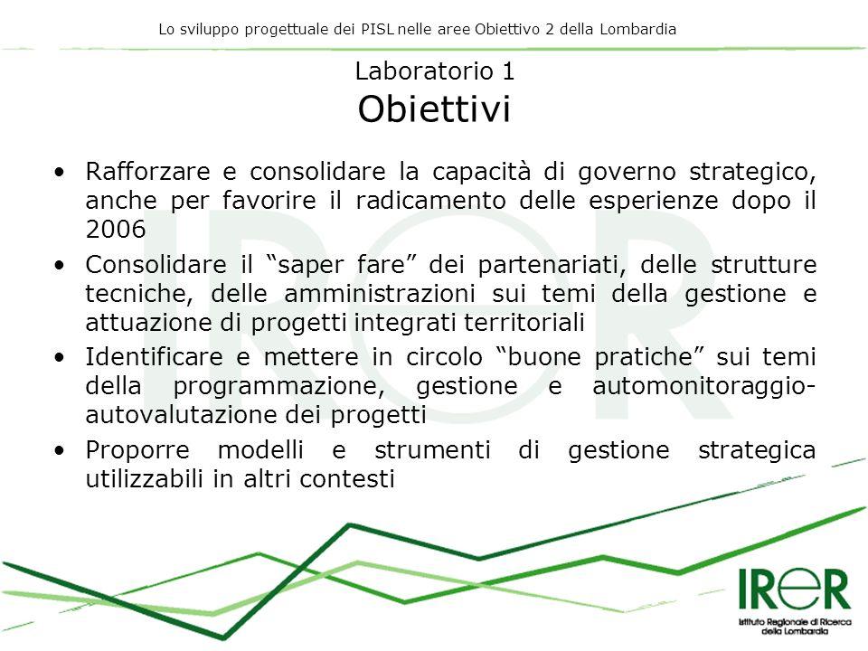 Lo sviluppo progettuale dei PISL nelle aree Obiettivo 2 della Lombardia Laboratorio 1 Obiettivi Rafforzare e consolidare la capacità di governo strate