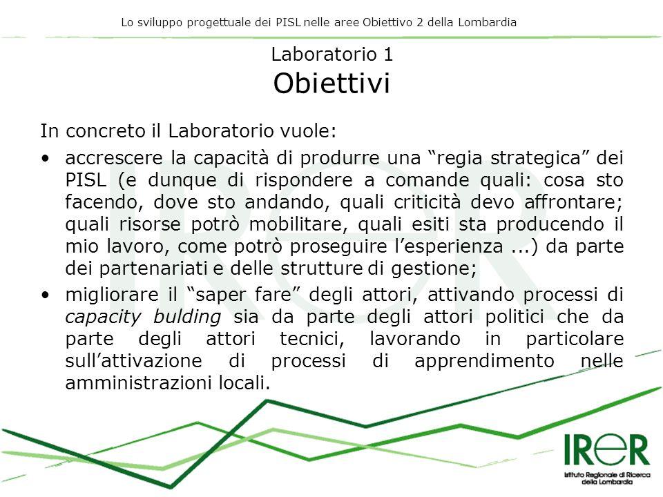 Lo sviluppo progettuale dei PISL nelle aree Obiettivo 2 della Lombardia Laboratorio 1 Obiettivi In concreto il Laboratorio vuole: accrescere la capaci