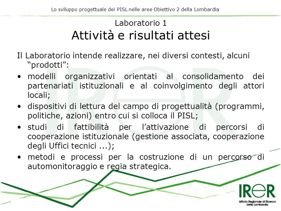 Lo sviluppo progettuale dei PISL nelle aree Obiettivo 2 della Lombardia Laboratorio 1 Attività e risultati attesi Il Laboratorio intende realizzare, n