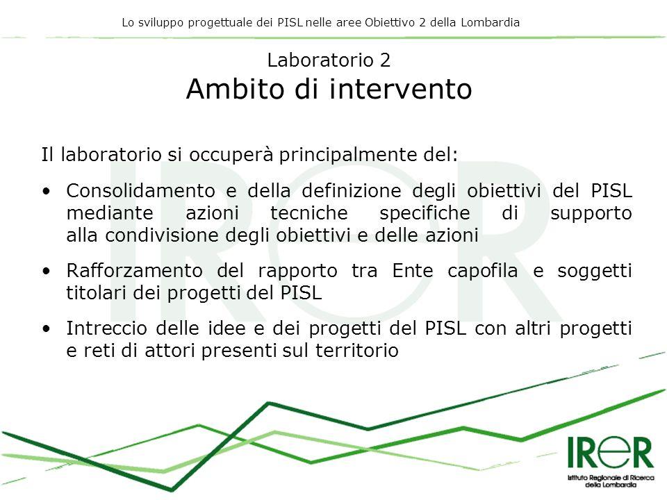 Lo sviluppo progettuale dei PISL nelle aree Obiettivo 2 della Lombardia Laboratorio 2 Ambito di intervento Il laboratorio si occuperà principalmente d
