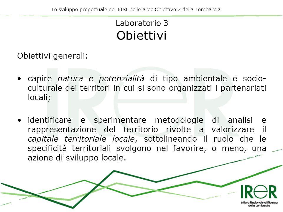 Lo sviluppo progettuale dei PISL nelle aree Obiettivo 2 della Lombardia Laboratorio 3 Obiettivi Obiettivi generali: capire natura e potenzialità di ti