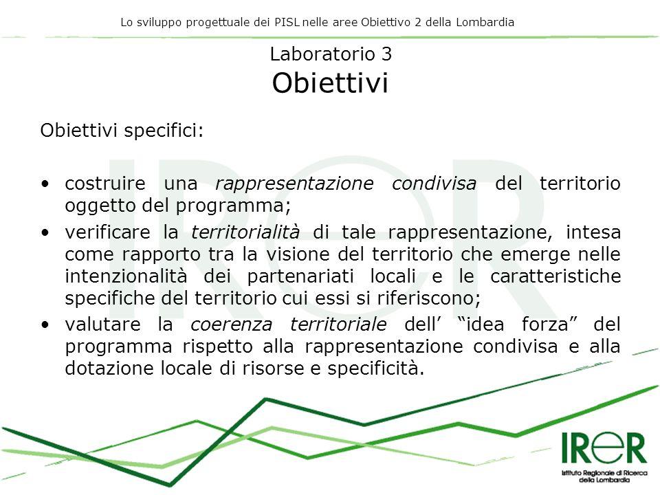 Lo sviluppo progettuale dei PISL nelle aree Obiettivo 2 della Lombardia Laboratorio 3 Obiettivi Obiettivi specifici: costruire una rappresentazione co