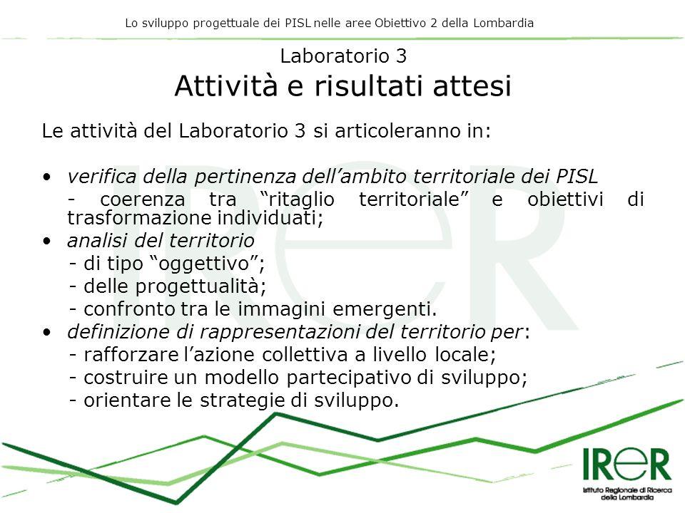 Lo sviluppo progettuale dei PISL nelle aree Obiettivo 2 della Lombardia Laboratorio 3 Attività e risultati attesi Le attività del Laboratorio 3 si art