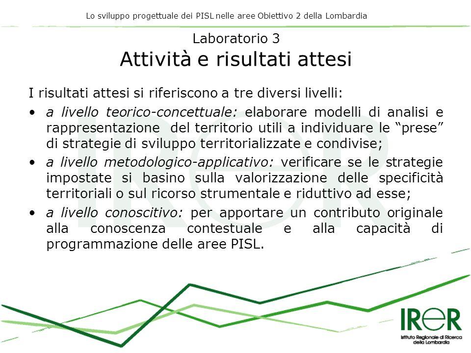 Lo sviluppo progettuale dei PISL nelle aree Obiettivo 2 della Lombardia Laboratorio 3 Attività e risultati attesi I risultati attesi si riferiscono a