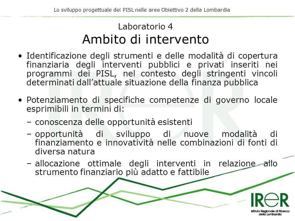 Lo sviluppo progettuale dei PISL nelle aree Obiettivo 2 della Lombardia Laboratorio 4 Ambito di intervento Identificazione degli strumenti e delle mod