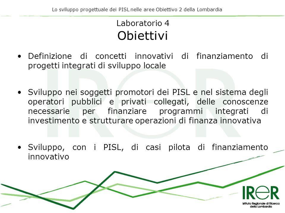 Lo sviluppo progettuale dei PISL nelle aree Obiettivo 2 della Lombardia Laboratorio 4 Obiettivi Definizione di concetti innovativi di finanziamento di