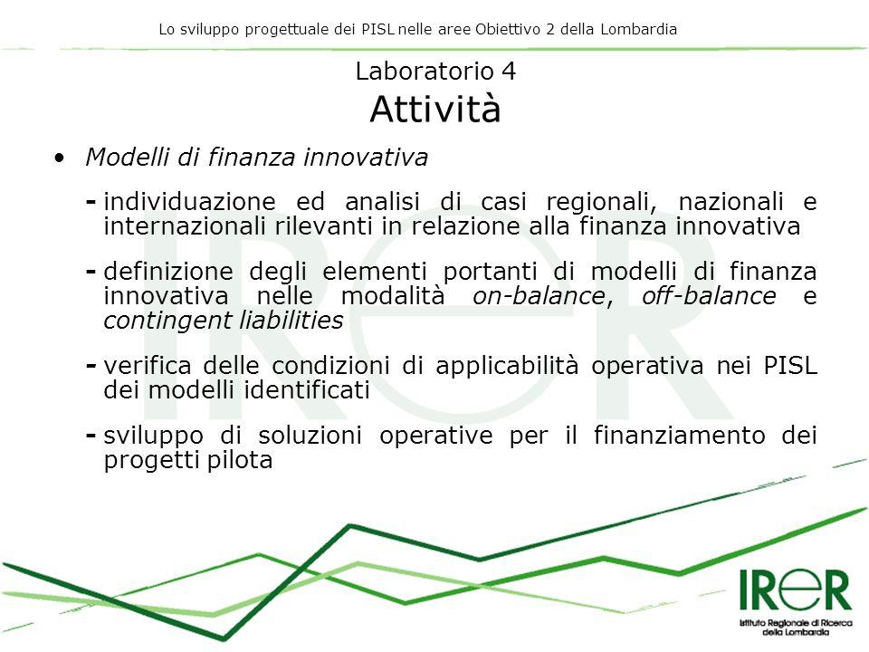 Lo sviluppo progettuale dei PISL nelle aree Obiettivo 2 della Lombardia Laboratorio 4 Attività Modelli di finanza innovativa -individuazione ed analisi di casi regionali, nazionali e internazionali rilevanti in relazione alla finanza innovativa -definizione degli elementi portanti di modelli di finanza innovativa nelle modalità on-balance, off-balance e contingent liabilities -verifica delle condizioni di applicabilità operativa nei PISL dei modelli identificati -sviluppo di soluzioni operative per il finanziamento dei progetti pilota