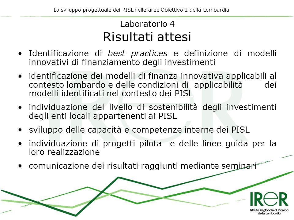 Lo sviluppo progettuale dei PISL nelle aree Obiettivo 2 della Lombardia Laboratorio 4 Risultati attesi Identificazione di best practices e definizione