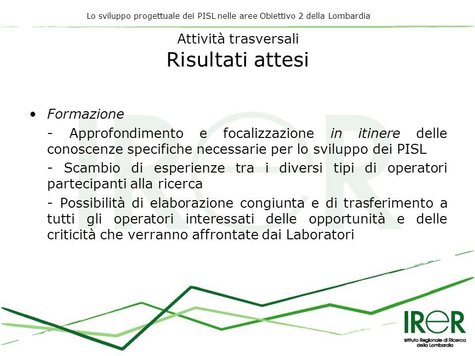 Lo sviluppo progettuale dei PISL nelle aree Obiettivo 2 della Lombardia Attività trasversali Risultati attesi Formazione - Approfondimento e focalizza