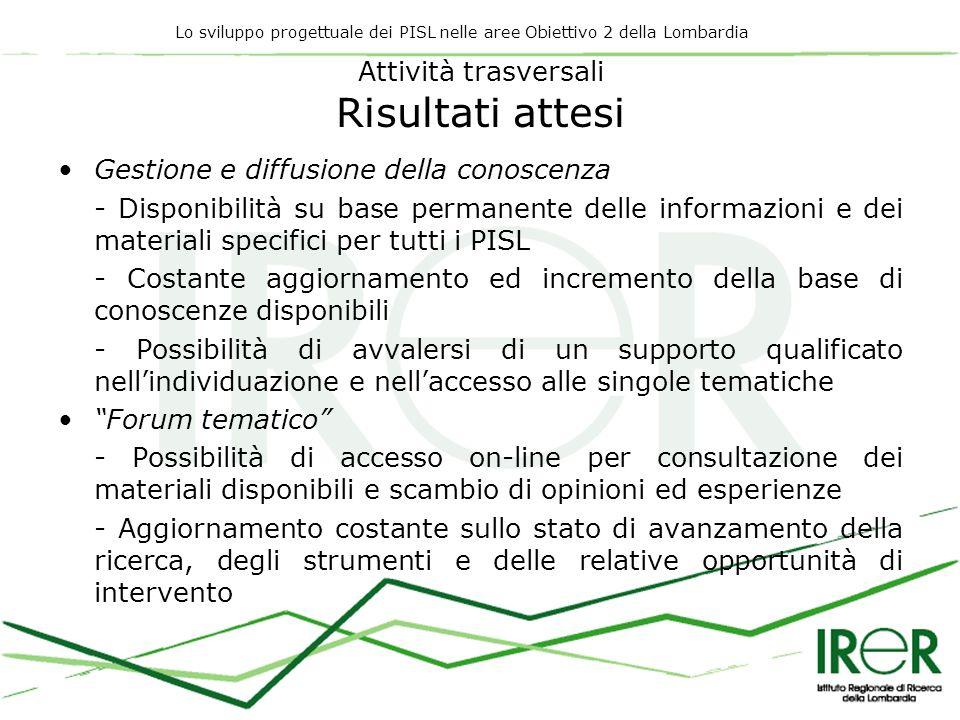 Lo sviluppo progettuale dei PISL nelle aree Obiettivo 2 della Lombardia Attività trasversali Risultati attesi Gestione e diffusione della conoscenza -
