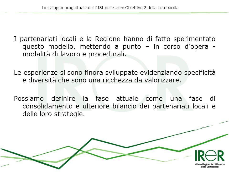 Lo sviluppo progettuale dei PISL nelle aree Obiettivo 2 della Lombardia I partenariati locali e la Regione hanno di fatto sperimentato questo modello, mettendo a punto – in corso dopera - modalità di lavoro e procedurali.