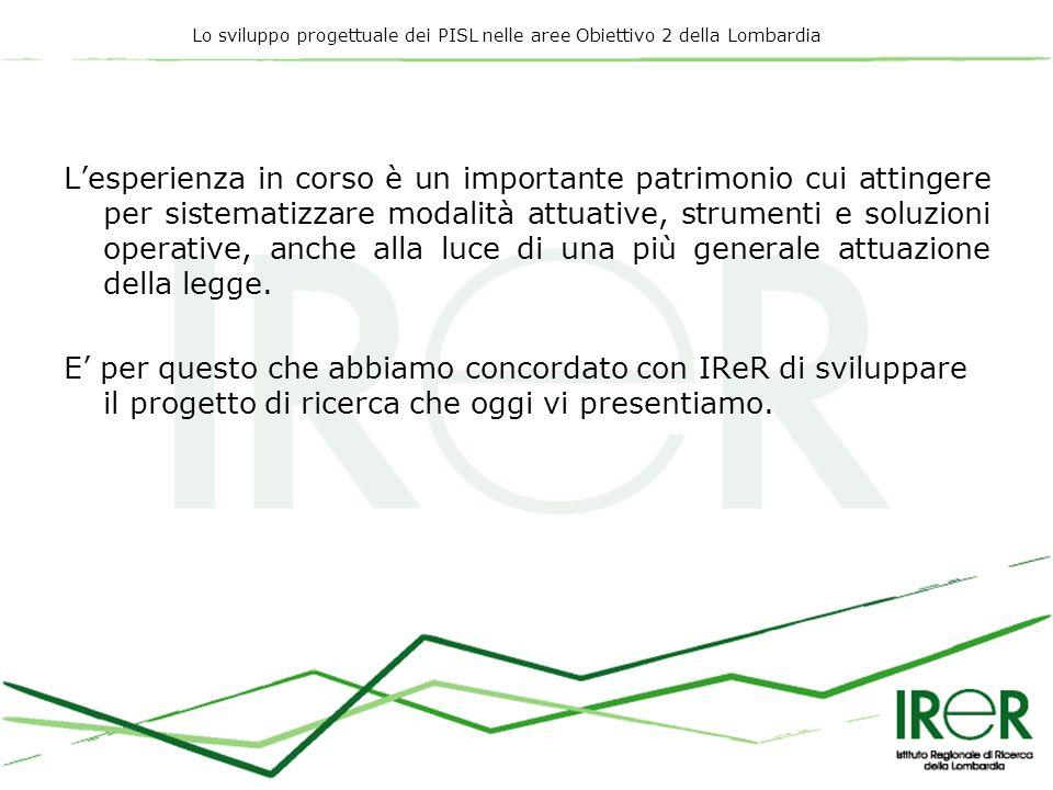 Lo sviluppo progettuale dei PISL nelle aree Obiettivo 2 della Lombardia Lesperienza in corso è un importante patrimonio cui attingere per sistematizza