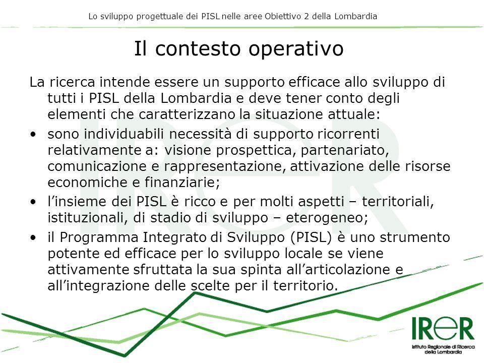 Lo sviluppo progettuale dei PISL nelle aree Obiettivo 2 della Lombardia Il contesto operativo La ricerca intende essere un supporto efficace allo svil